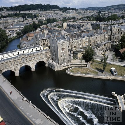 The weir and Pulteney Bridge, Bath, c.1975