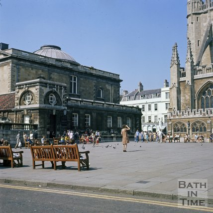Kingston Parade and the Roman Baths entrance hall, Bath, c.1975
