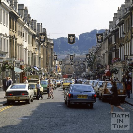 Milsom Street, Bath, decorated for the Royal Wedding, 1981