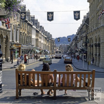 Looking down Milson Street, decorated for the Royal Wedding, Bath, 1981