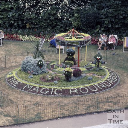 The Magic Roundabout floral display, Parade Gardens, Bath, 1975