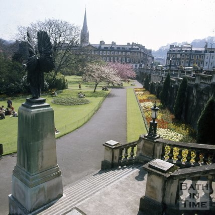 The steps at Parade Gardens, Bath with North Parade in the background, c.1975