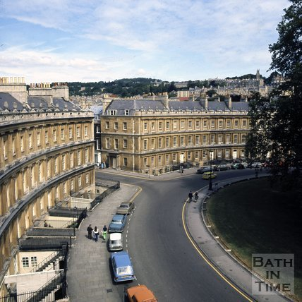 Rooftop view at the Circus, Bath, c.1975