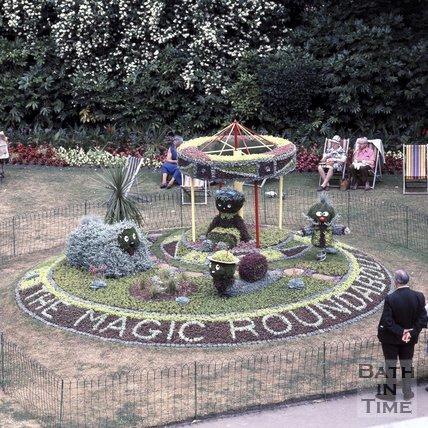 The Magic Roundabout floral display, Parade Gardens, Bath, 1975