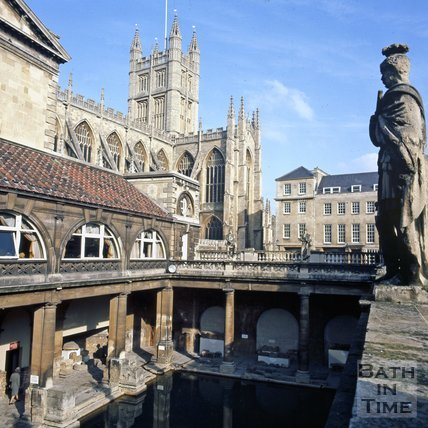 The Roman Baths with Bath Abbey in the background, Bath, c.1975