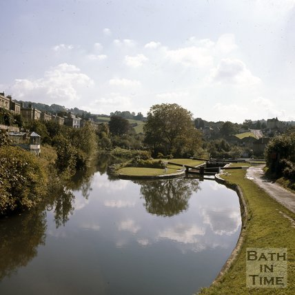 Widcombe Locks on the Kennet & Avon Canal, Bath, c.1976