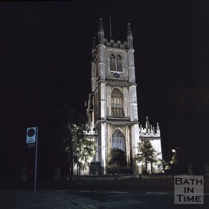 St Marys church, Bathwick at night, Bath, c.1975 - 1980