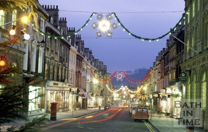 Christmas Decorations on Milsom Street, Bath, c.1987