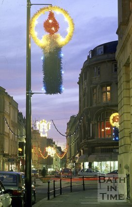 Bath Christmas Decorations, looking towards Cheap Street, c.1987