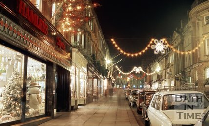 Christmas Decorations on Milsom Street, Bath, c.1987