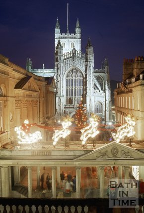 Bath Abbey with Christmas Decorations in the foreground, c.1987