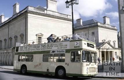 A Bath tour bus outside the Assembly Rooms, c.1980