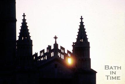 The sun sets behind Bath Abbey, September 1973