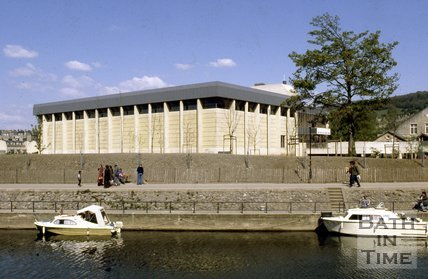 The entrance to Bath Sports Centre viewed from the riverside, c.1980