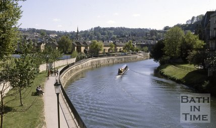 The River Avon from North parade Bridge looking south towards Widcombe, Bath, c.1980