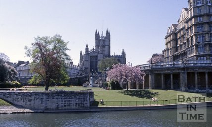Parade Gardens viewed from across the River Avon, Bath, c.1980