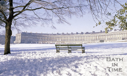 The Royal Crescent in the snow, Bath, c.1980