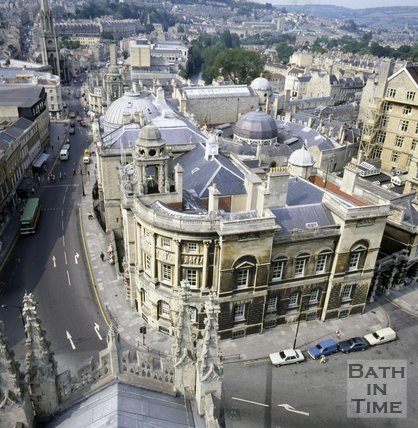 View of the Guildhall and High Street from Bath Abbey tower, c.1982