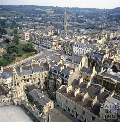 View of North Parade and Parade Gardens from Bath Abbey tower, c.1982