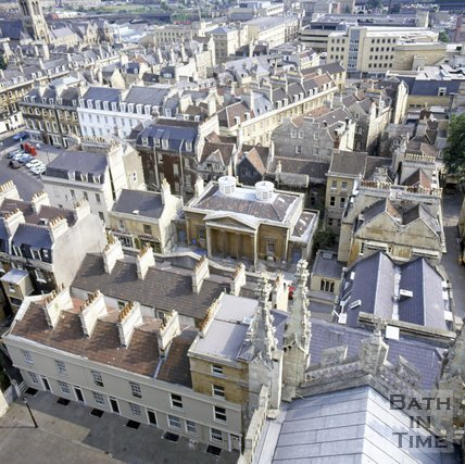 View of York Street from the tower of Bath Abbey, Bath, c.1982