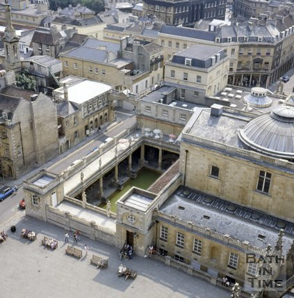 View of Kingston Parade and the Roman Baths from the tower of Bath Abbey, Bath, c.1982