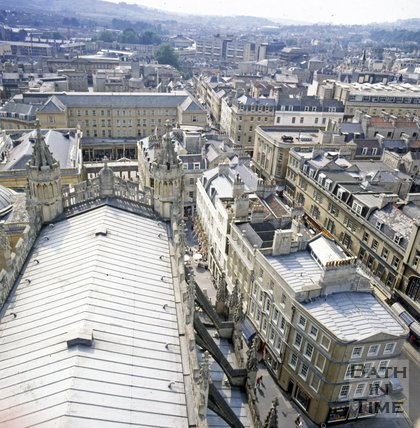 View of Arlington House from Bath Abbey tower, c.1982
