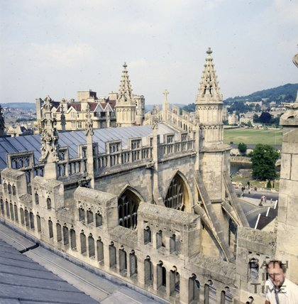 View across the roof of Bath Abbey, c.1982