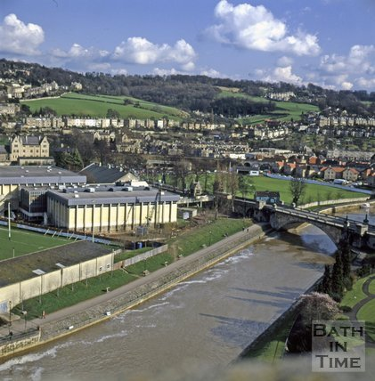 View of the Sports Centre from the roof of The Empire Hotel, Bath, c.1980