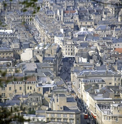 View of Stall Street on a busy shopping day from Beechen Cliff, Bath, c.1980