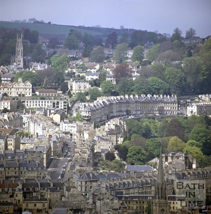 View of Camden Crescent from Beechen Cliff, Bath, c.1980