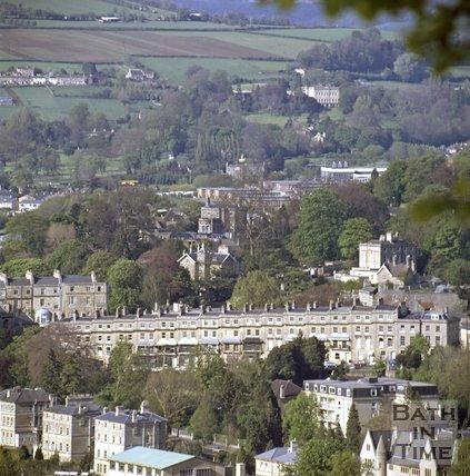 View over Bathwick Hill towards Bailbrook House, Bath, c.1980