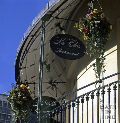 The round balcony of Le Clos Restaurant, Seven Dials development, Sawclose, Bath, c.1995