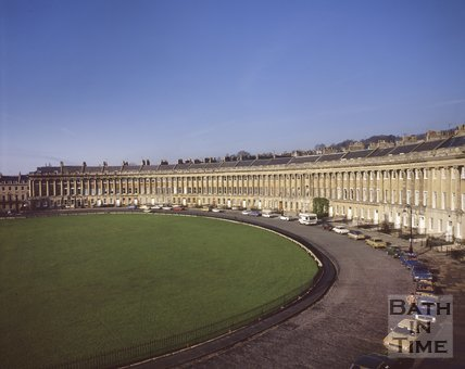 View of the sweep of the Royal Crescent, Bath, c.1980