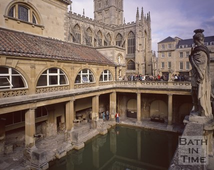 The Roman Baths with Bath Abbey in the background, c.1975