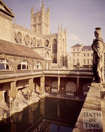The Roman Baths with Bath Abbey in the background, c.1978