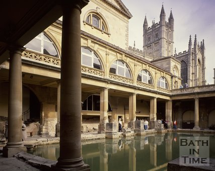 The Roman Baths with Bath Abbey in the background, c.1980