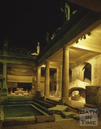 An evening view of the Roman Baths, c.1980