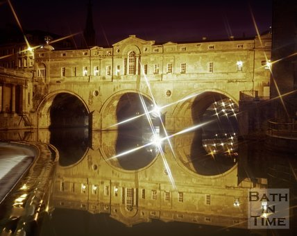 The floodlit Pulteney Bridge, Bath, c.1980s