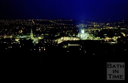 View of Bath in the dark, from Bathwick Hill, Bath, c.1980s