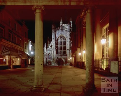 A night-time view of Bath Abbey and the Pump Room, Bath, c.1980s