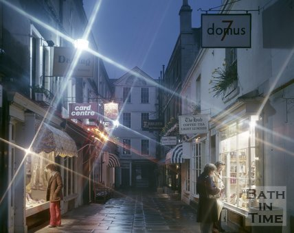 A twilight view of Northumberland Place, Bath, c.1975