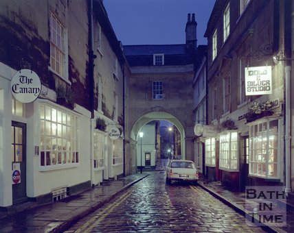 A twilight view of Queen Street, Bath, c.1975