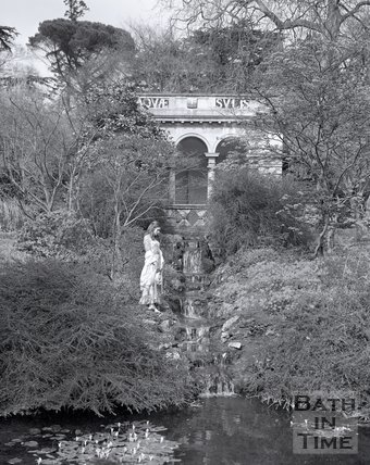 A model poses by the cascade in the Botanical Gardens, Royal Victoria Park, Bath, c.1975