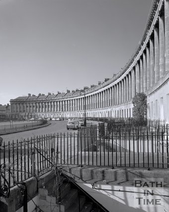 View of the sweep and railings of the Royal Crescent, Bath, c.1980