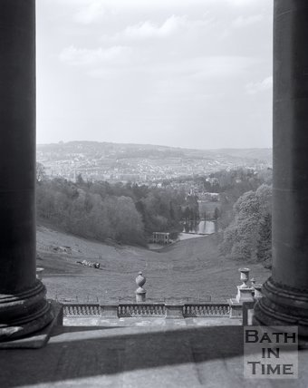 View of the Palladian Bridge from Prior Park, Bath, c.1980