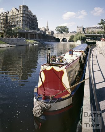 Canal boat on the River Avon, Bath, c.1975