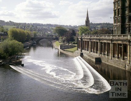 The weir and under croft of Grand Parade, Bath, c.1980