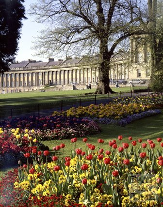 Floral display in front of the Royal Crescent, Bath, c.1980