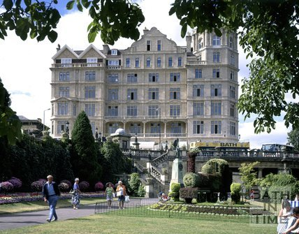 The newly restored clean facade of the Empire Hotel viewed from Parade Gardens, Bath, 1995