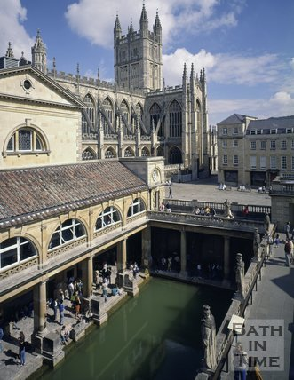 The Roman Baths with Bath Abbey in the background, c.1990